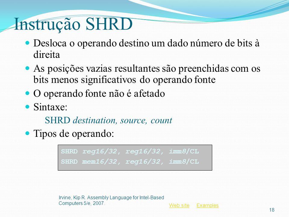 Instrução SHRD Desloca o operando destino um dado número de bits à direita.
