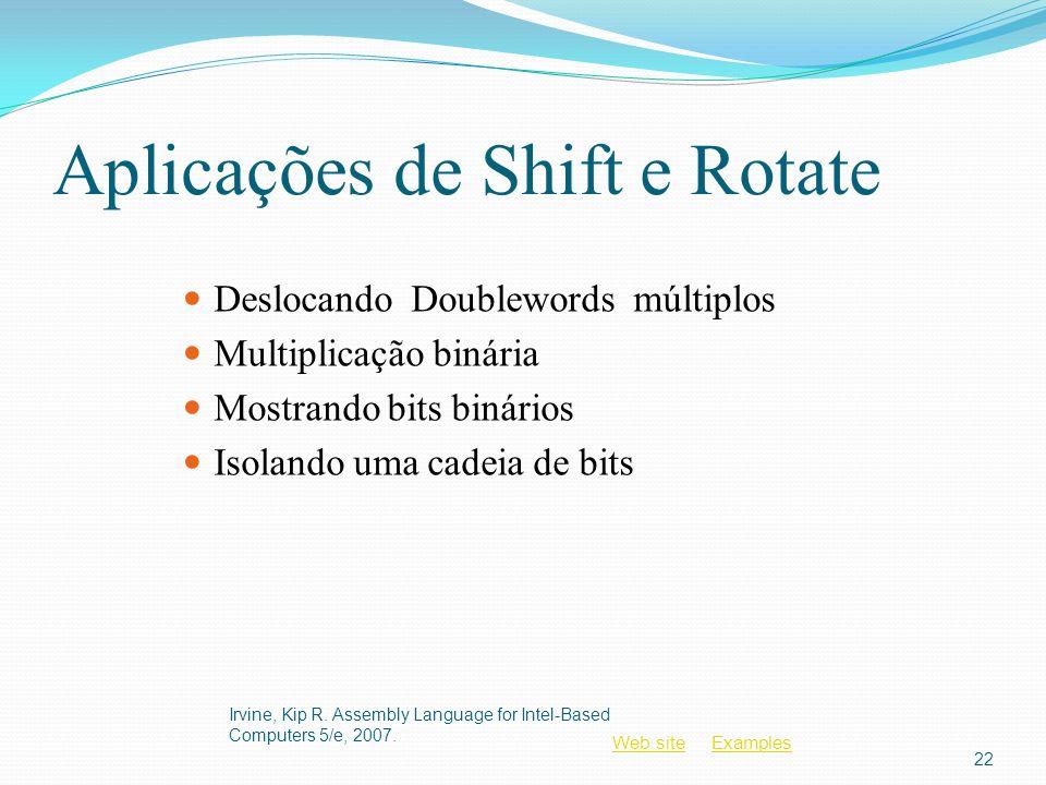Aplicações de Shift e Rotate