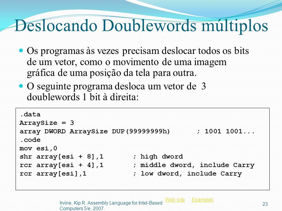 Deslocando Doublewords múltiplos