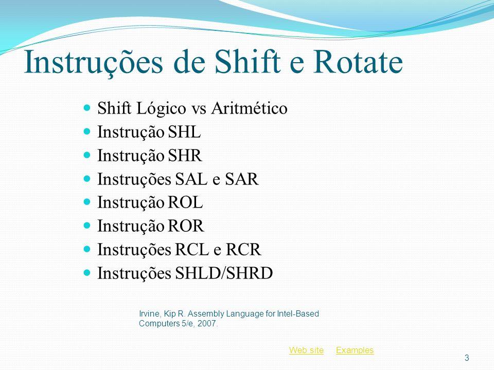 Instruções de Shift e Rotate