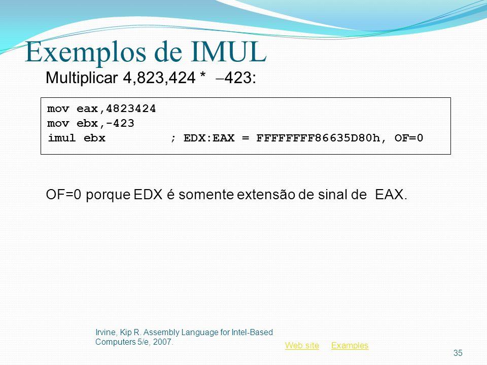 Exemplos de IMUL Multiplicar 4,823,424 * -423: