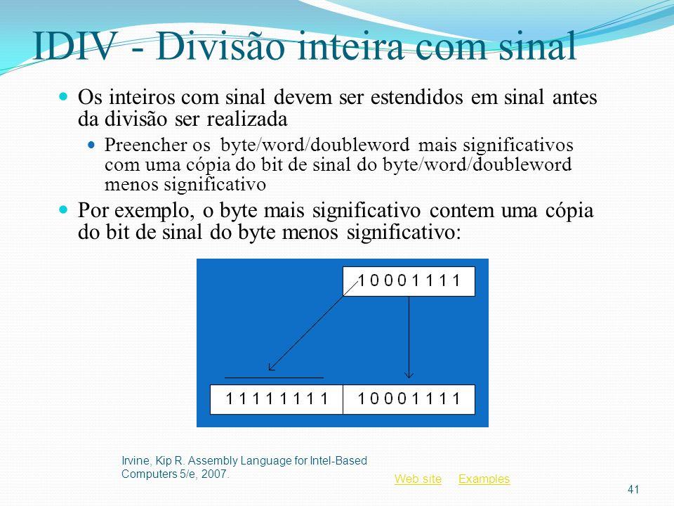 IDIV - Divisão inteira com sinal