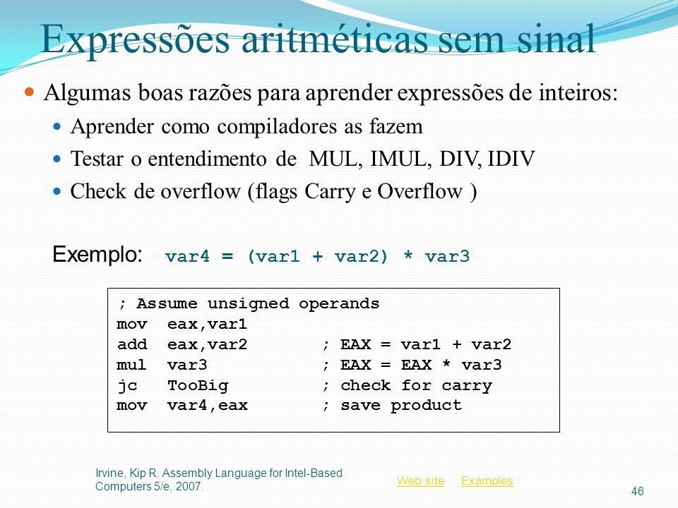 Expressões aritméticas sem sinal