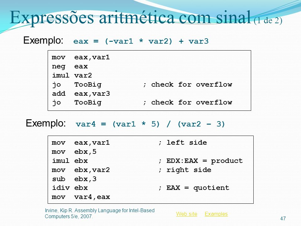 Expressões aritmética com sinal (1 de 2)
