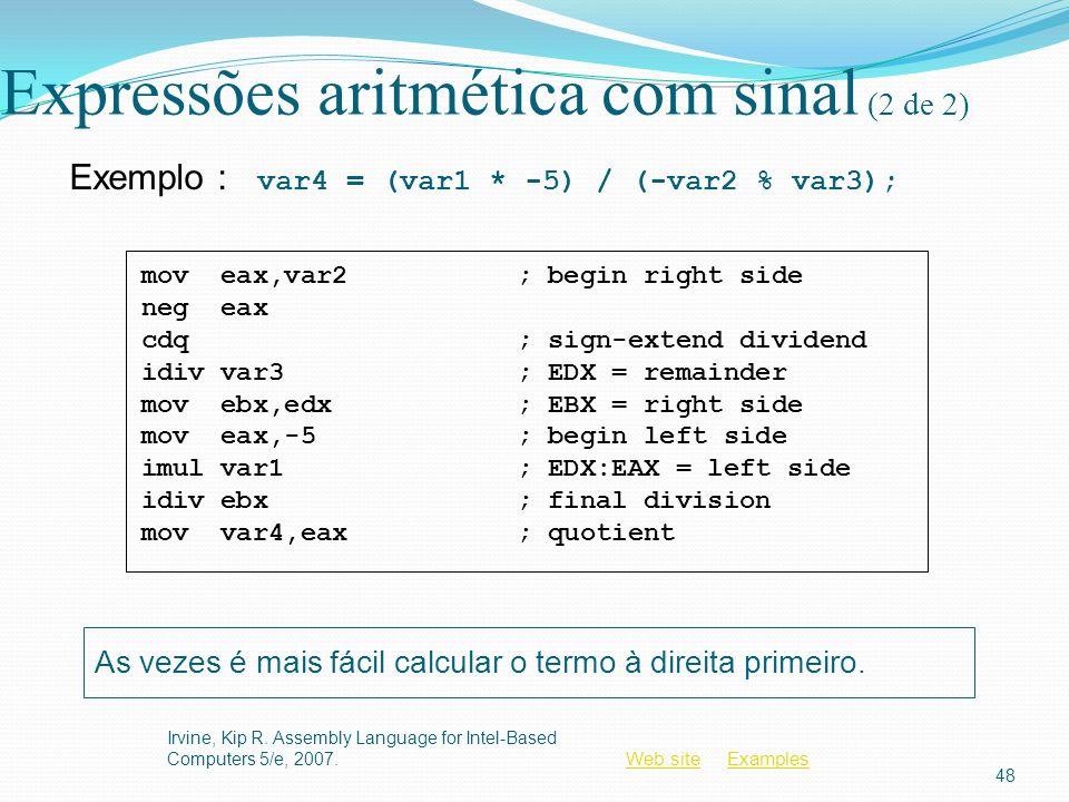 Expressões aritmética com sinal (2 de 2)