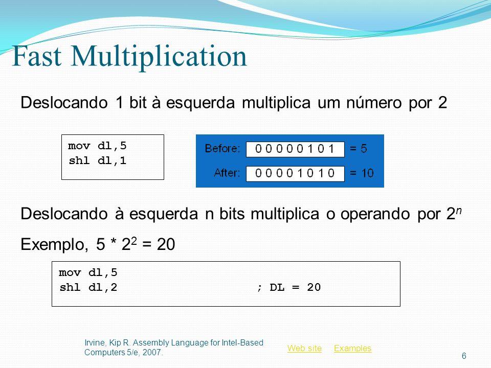 Fast Multiplication Deslocando 1 bit à esquerda multiplica um número por 2. mov dl,5. shl dl,1. mov dl,5.