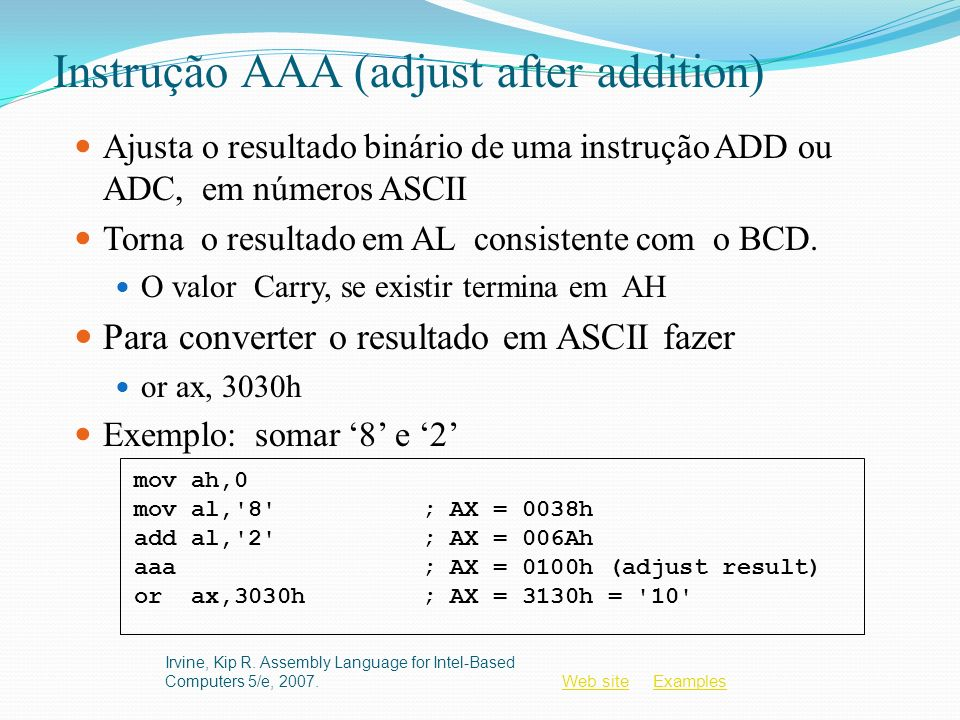 Instrução AAA (adjust after addition)