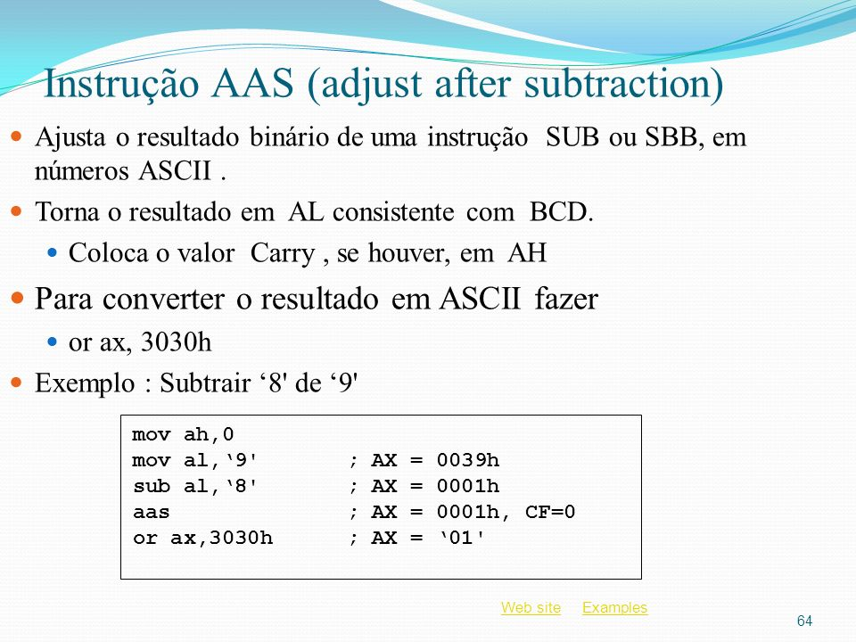 Instrução AAS (adjust after subtraction)