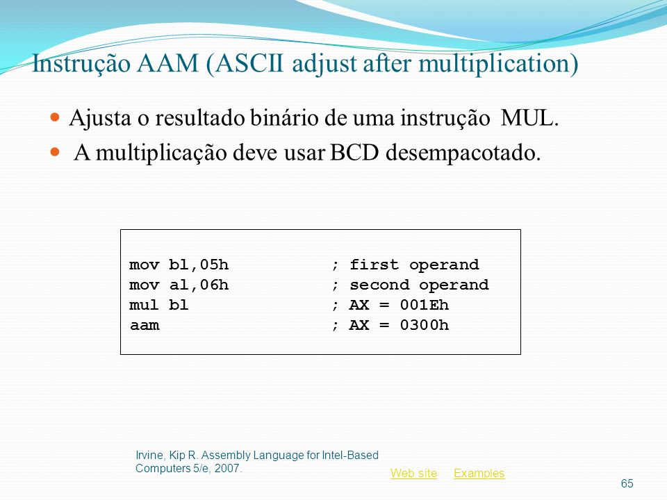 Instrução AAM (ASCII adjust after multiplication)