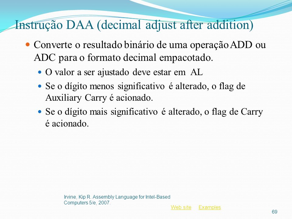 Instrução DAA (decimal adjust after addition)