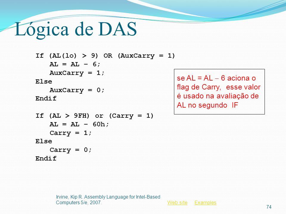 Lógica de DAS If (AL(lo) > 9) OR (AuxCarry = 1) AL = AL − 6; AuxCarry = 1; Else. AuxCarry = 0; Endif.
