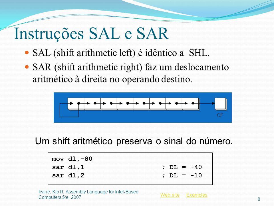 Instruções SAL e SAR SAL (shift arithmetic left) é idêntico a SHL.