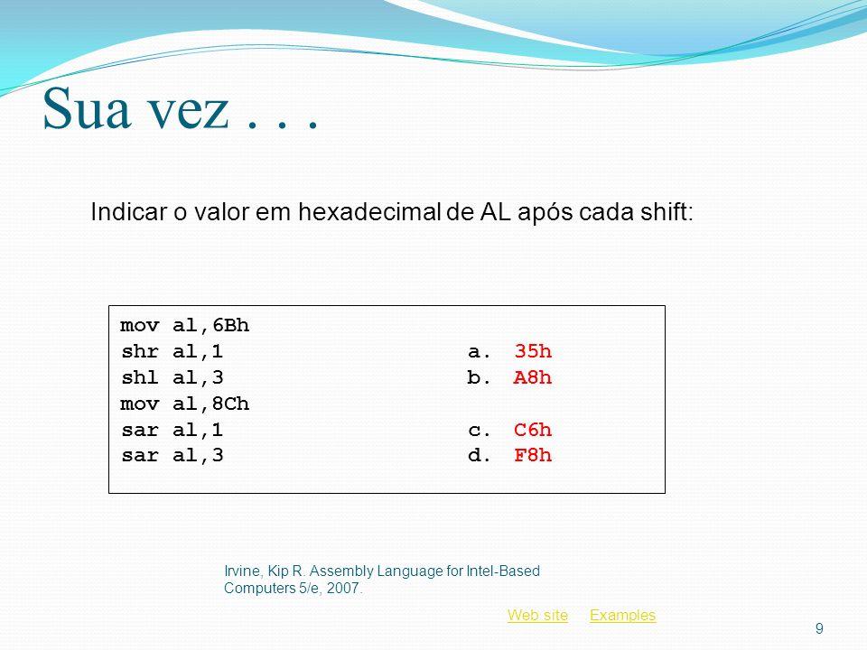 Sua vez . . . Indicar o valor em hexadecimal de AL após cada shift: