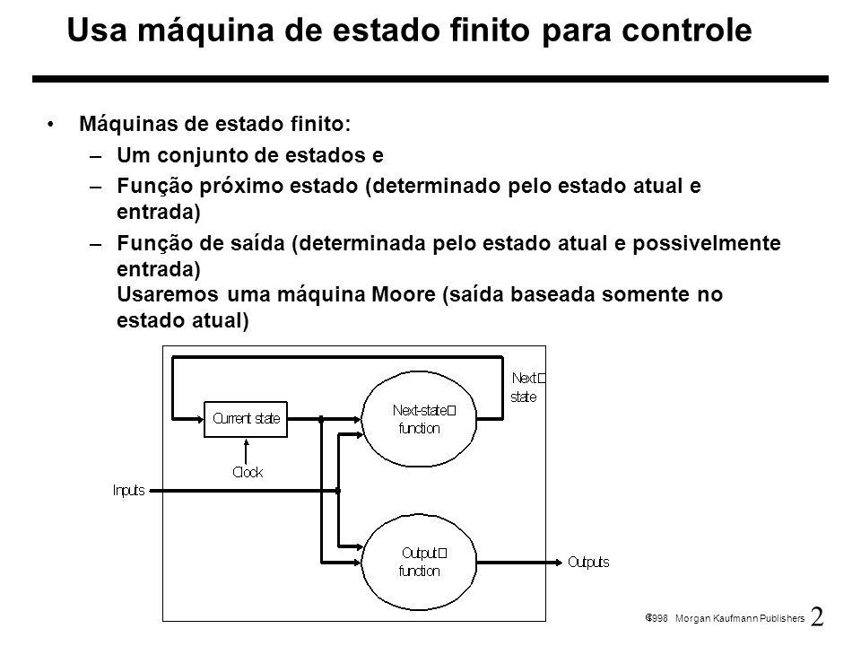 Usa máquina de estado finito para controle