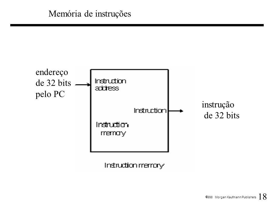 Memória de instruções endereço de 32 bits pelo PC instrução de 32 bits
