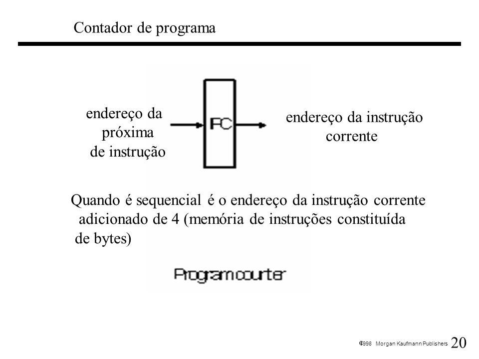 Contador de programa endereço da. próxima. de instrução. endereço da instrução. corrente. Quando é sequencial é o endereço da instrução corrente.