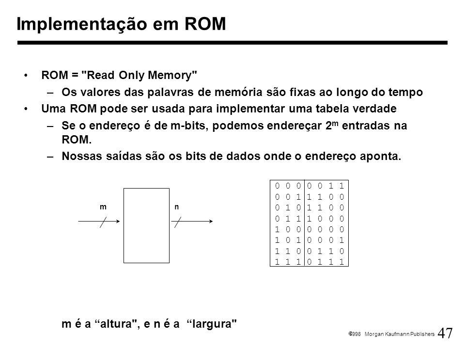 Implementação em ROM ROM = Read Only Memory
