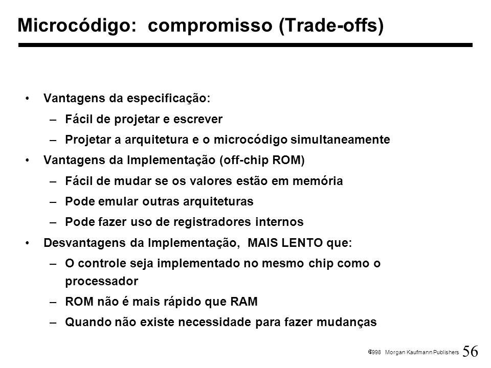 Microcódigo: compromisso (Trade-offs)