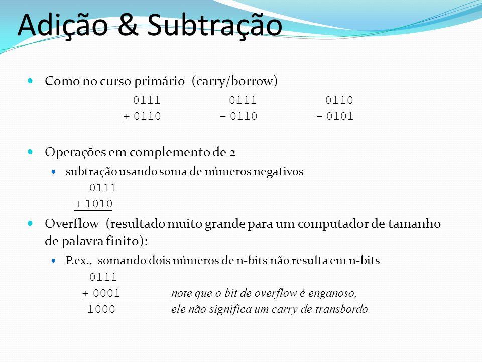 Adição & Subtração Como no curso primário (carry/borrow) 0111 0111 0110 + 0110 - 0110 - 0101.