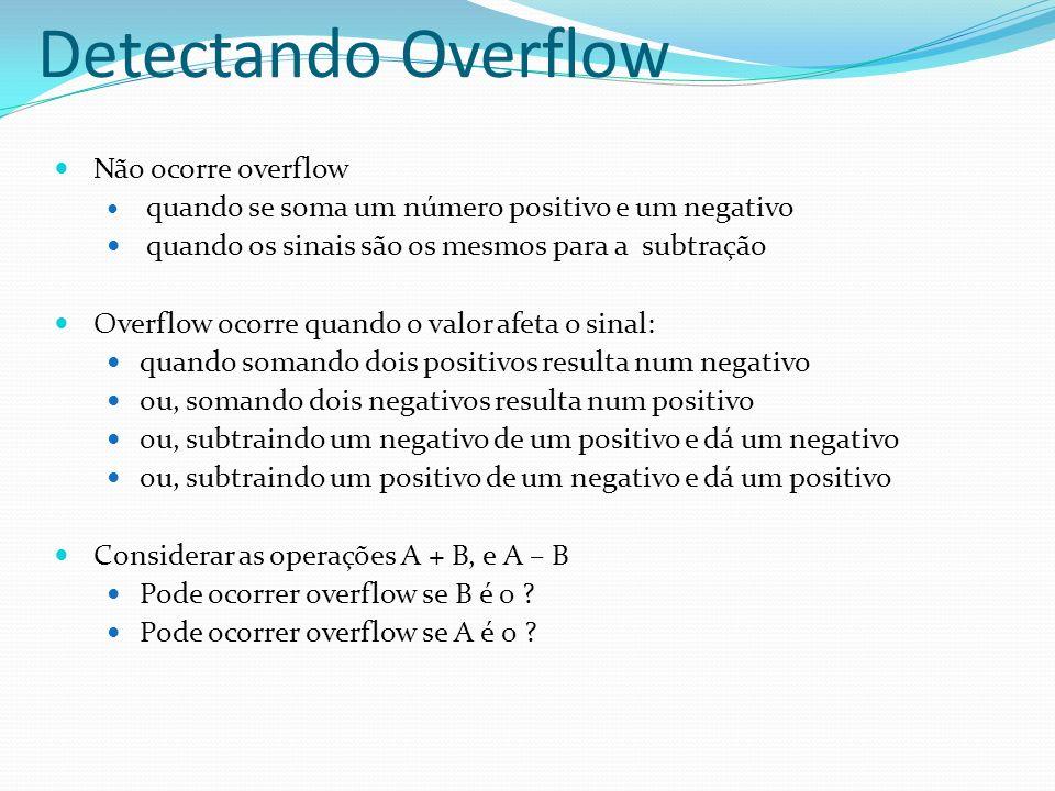 Detectando Overflow Não ocorre overflow