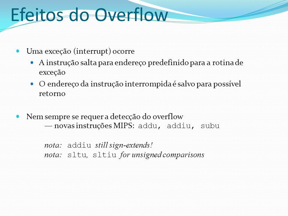 Efeitos do Overflow Uma exceção (interrupt) ocorre