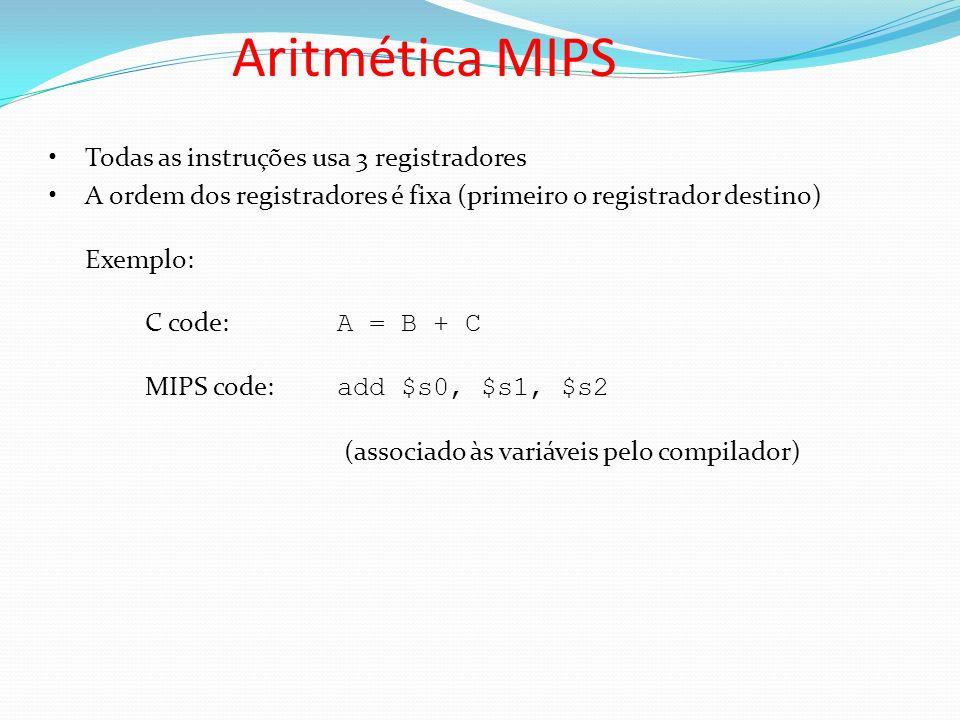 Aritmética MIPS Todas as instruções usa 3 registradores