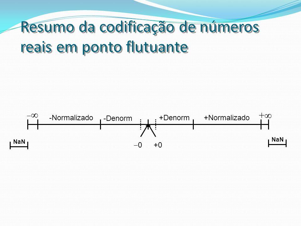 Resumo da codificação de números reais em ponto flutuante