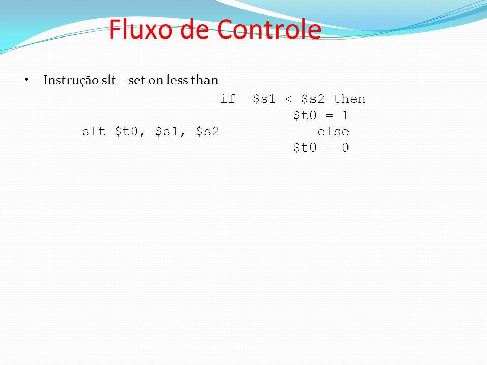 Fluxo de Controle Instrução slt – set on less than