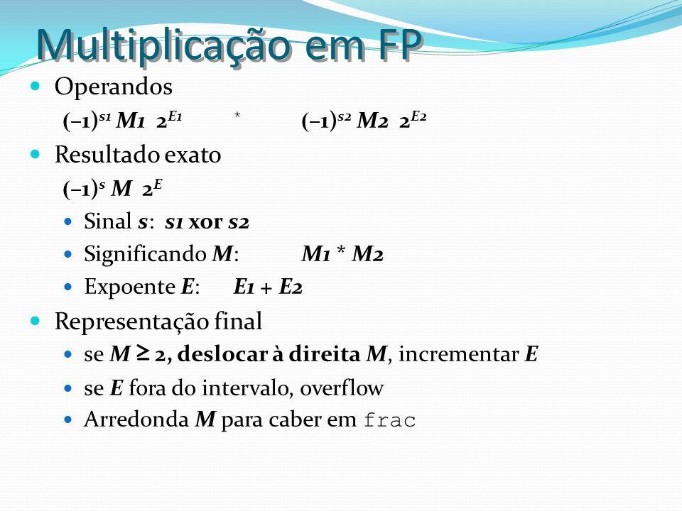 Multiplicação em FP Operandos Resultado exato Representação final