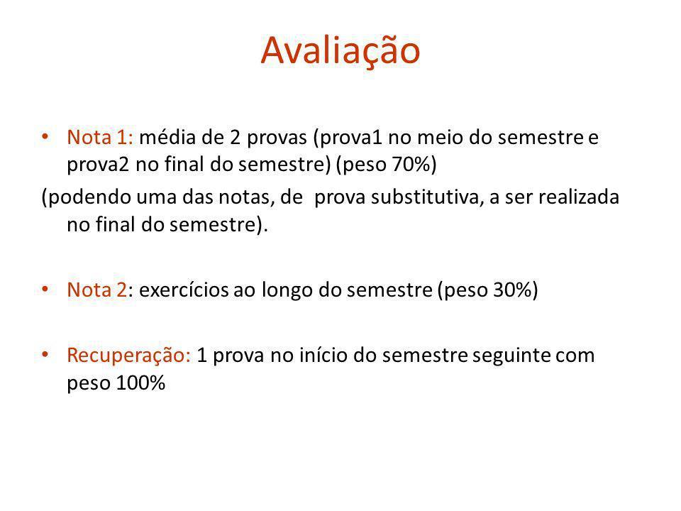 Avaliação Nota 1: média de 2 provas (prova1 no meio do semestre e prova2 no final do semestre) (peso 70%)