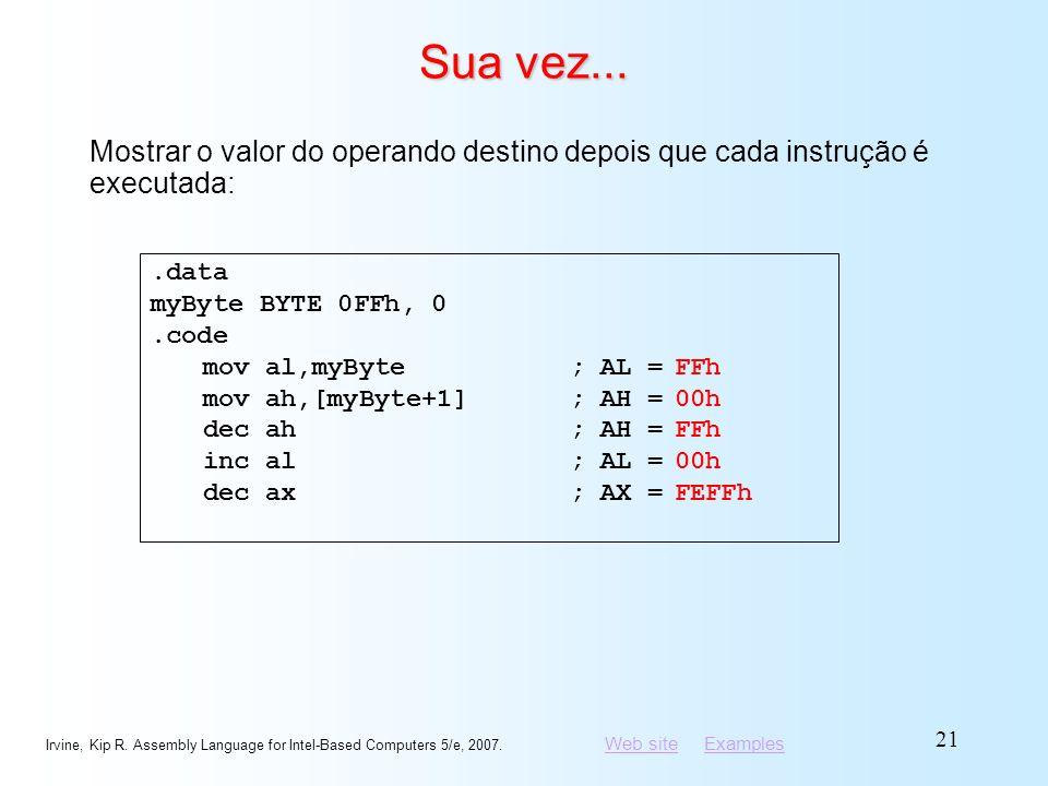 Sua vez... Mostrar o valor do operando destino depois que cada instrução é executada: .data. myByte BYTE 0FFh, 0.