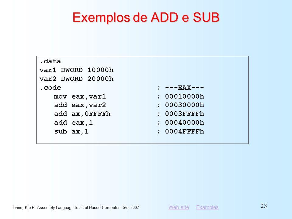 Exemplos de ADD e SUB .data var1 DWORD 10000h var2 DWORD 20000h