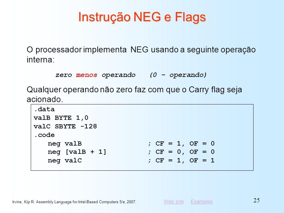 Instrução NEG e Flags O processador implementa NEG usando a seguinte operação interna: zero menos operando (0 – operando)
