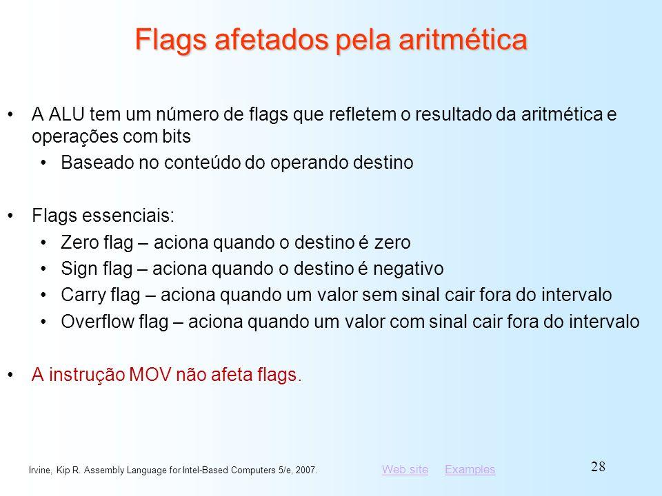 Flags afetados pela aritmética
