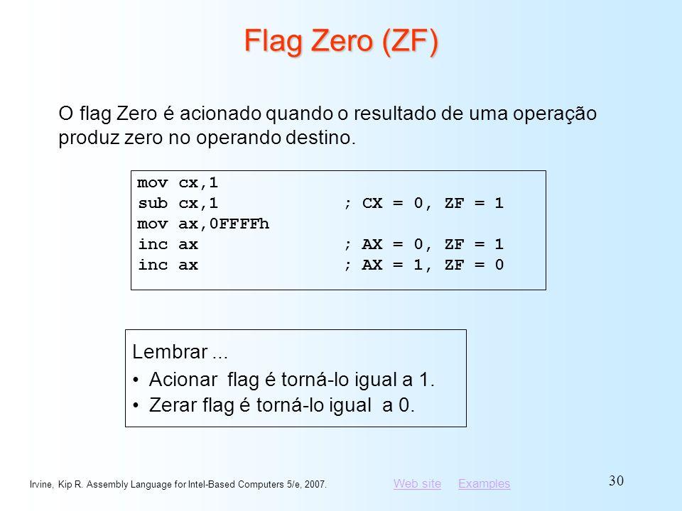 Flag Zero (ZF) O flag Zero é acionado quando o resultado de uma operação produz zero no operando destino.