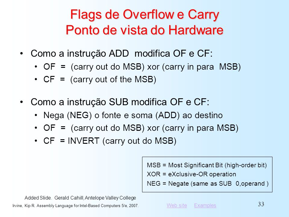 Flags de Overflow e Carry Ponto de vista do Hardware