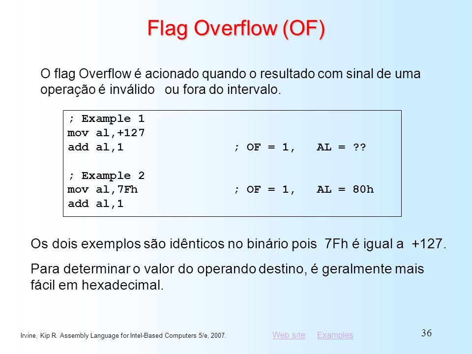 Flag Overflow (OF) O flag Overflow é acionado quando o resultado com sinal de uma operação é inválido ou fora do intervalo.
