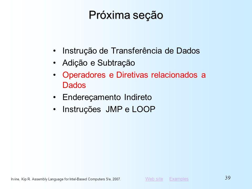 Próxima seção Instrução de Transferência de Dados Adição e Subtração