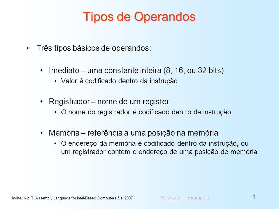 Tipos de Operandos Três tipos básicos de operandos: