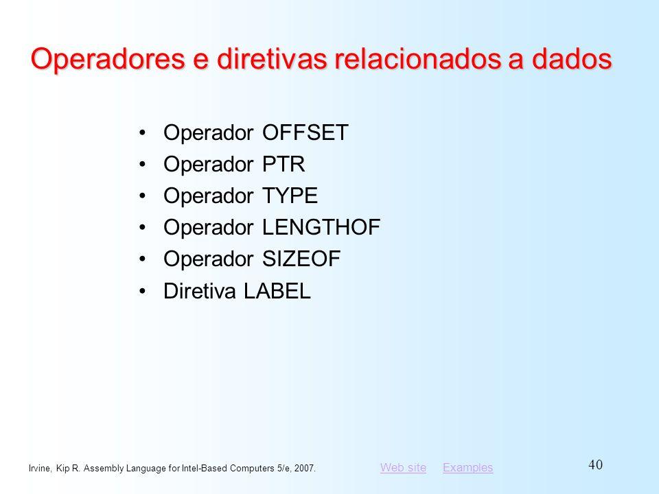 Operadores e diretivas relacionados a dados