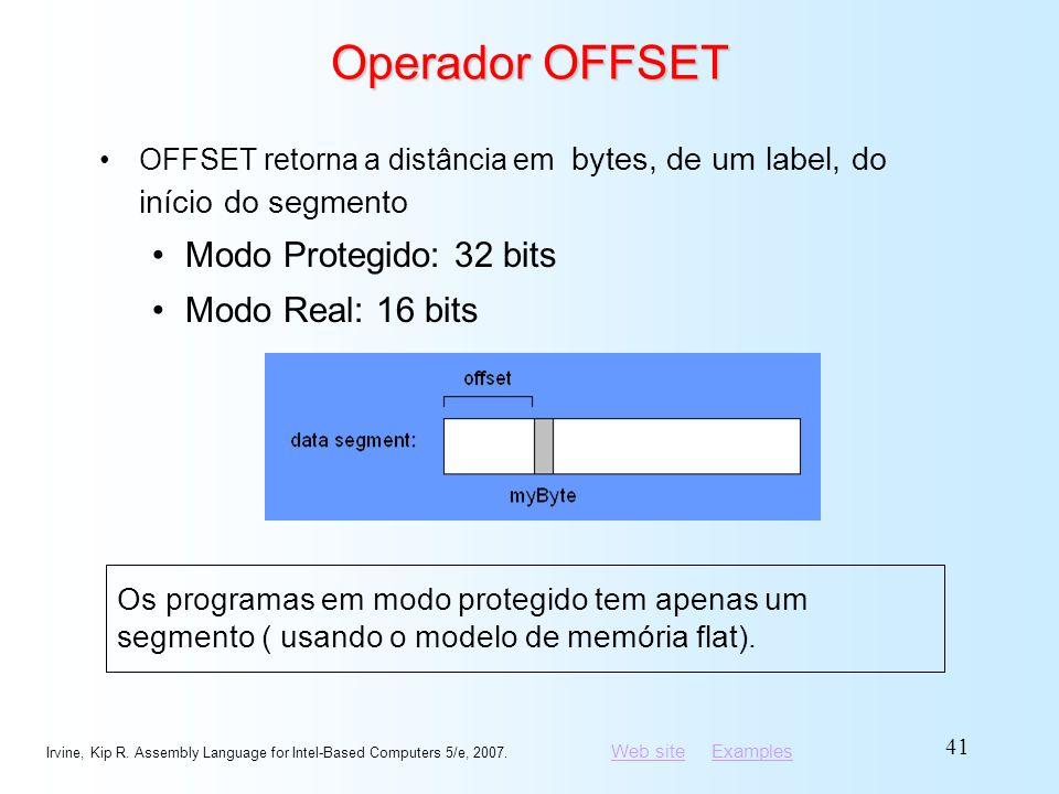 Operador OFFSET Modo Protegido: 32 bits Modo Real: 16 bits