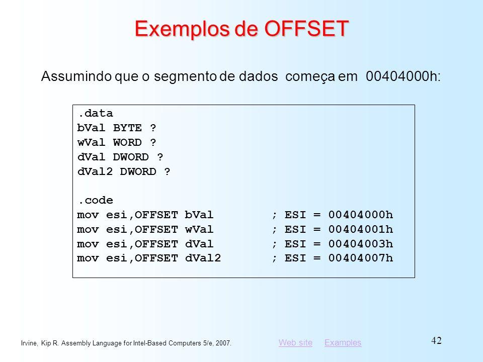 Exemplos de OFFSET Assumindo que o segmento de dados começa em 00404000h: .data. bVal BYTE wVal WORD