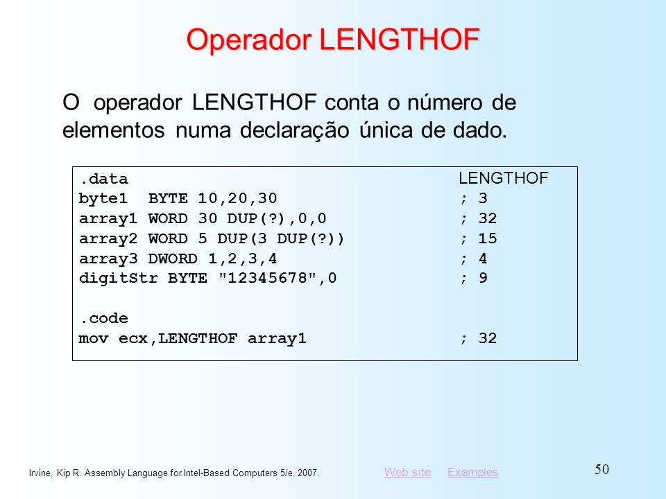 Operador LENGTHOF O operador LENGTHOF conta o número de elementos numa declaração única de dado. .data LENGTHOF.