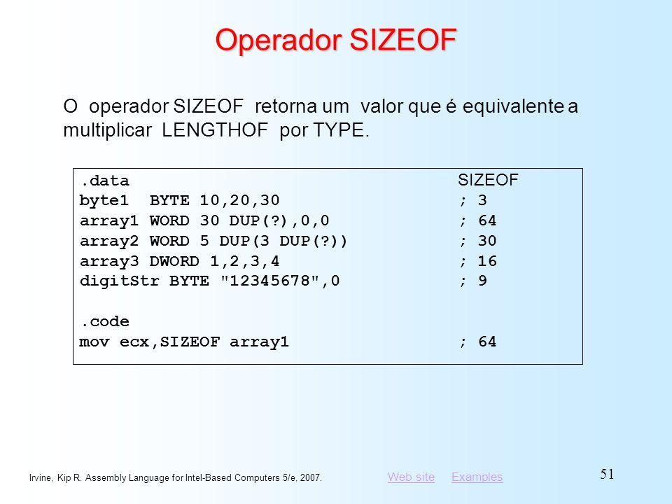Operador SIZEOF O operador SIZEOF retorna um valor que é equivalente a multiplicar LENGTHOF por TYPE.