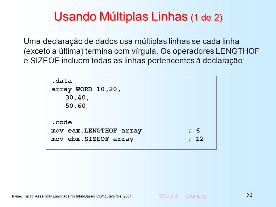 Usando Múltiplas Linhas (1 de 2)