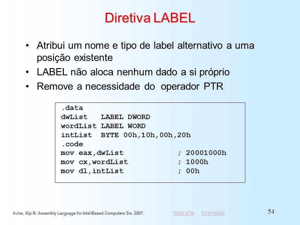 Diretiva LABEL Atribui um nome e tipo de label alternativo a uma posição existente. LABEL não aloca nenhum dado a si próprio.