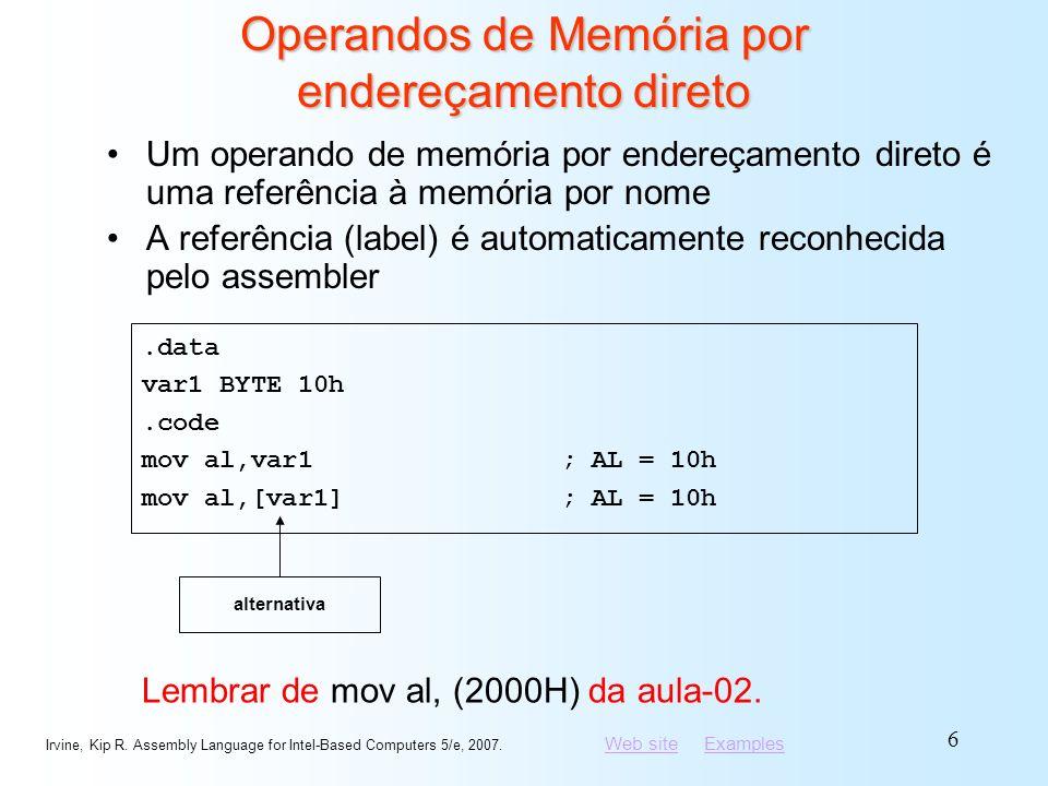 Operandos de Memória por endereçamento direto