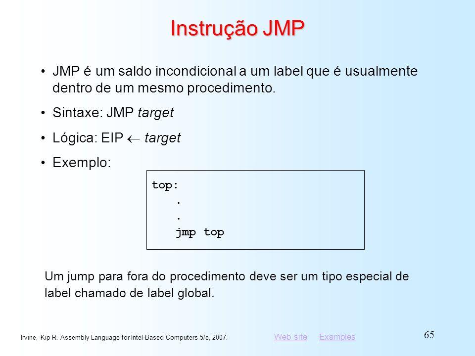 Instrução JMP JMP é um saldo incondicional a um label que é usualmente dentro de um mesmo procedimento.
