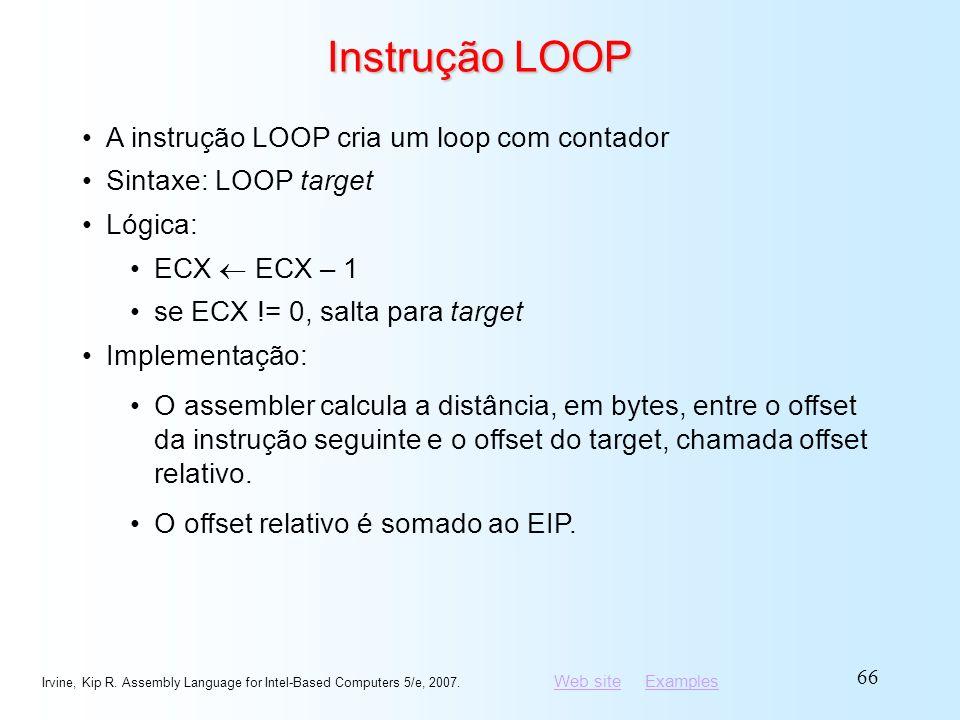 Instrução LOOP A instrução LOOP cria um loop com contador
