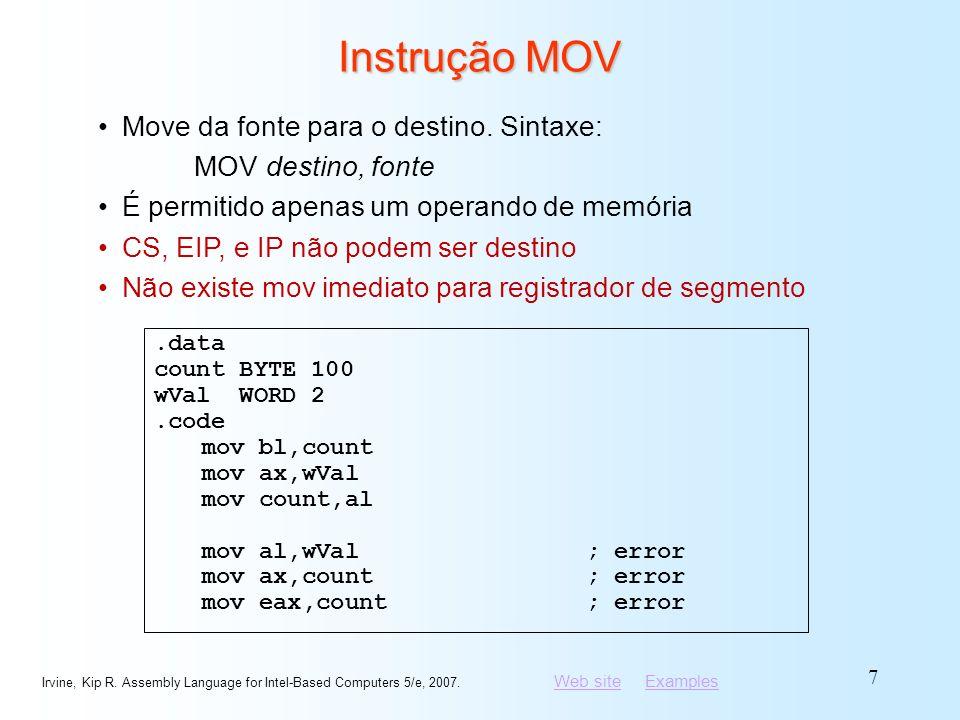 Instrução MOV Move da fonte para o destino. Sintaxe: